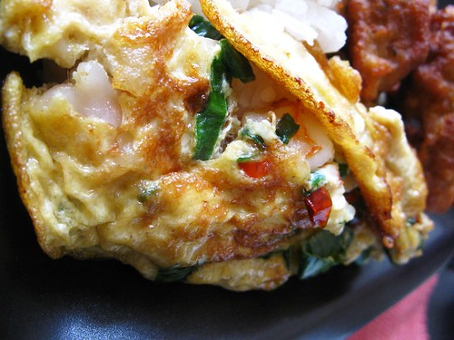 Prawn with spring onion omelette