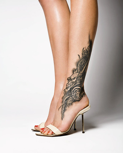 Nice Tattoo Design on Ankle Women Sexy