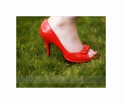 High Heeled Red Shoe in a Sea of Green (Magdalen Green Photography) Tags: scotland highheels f14 scottish redshoe seaofgreen coolgreen sexyred coolred dsc1605 iaingordon highheeledredshoeinaseaofgreen