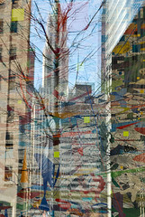 """mural"" by julie mehretu, with reflection (cloudcity) Tags: city newyork reflection building tree art spring mural woolworth goldmansachs juliemehretu 200weststreet"