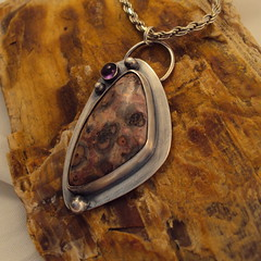 Leopard Jasper and amethyst pendant (followtheredbrickrd) Tags: silver purple jewelry sterling amethyst pendant leopardjasper followtheredbrickrd marcybell