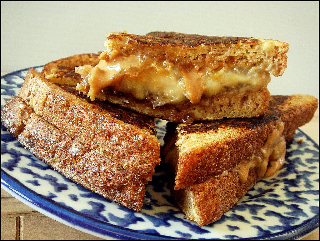 Grilled French Toast Peanut Butter & Caramelized Banana Sandwich