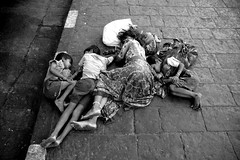 dreamland_large (Mark Lapwood) Tags: poverty boy india white black girl kids child sister brother homeless under poor young mother sidewalk walkway bombay roadside mumbai footpath survival pathway belongings scraggy privileged childrensleeping familysleeping