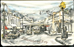 Sheepshead Bay in color. Brooklyn, NY. (Nik Ira) Tags: brooklyn ink sketch bijoubox