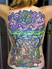 Almost done . . . (Kerrie Lynn Photography (Sugaree_GD)) Tags: flowers trees selfportrait tattoo forest stars back butterflies sunburst swirls fairies piece faeries amybrown tattooed heavily staceysharp sugareegd keirwells