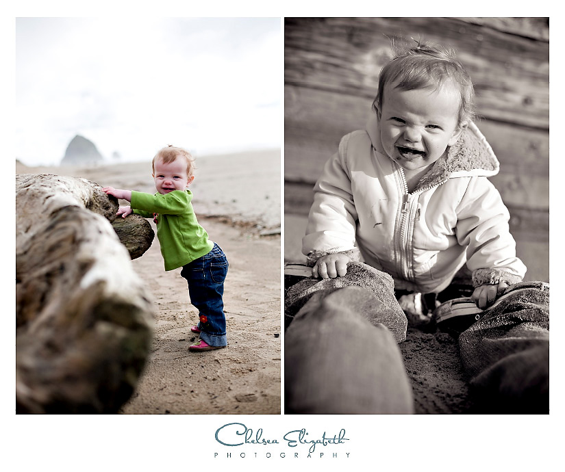 toddler beach day cannon beach oregon with hay stack rock
