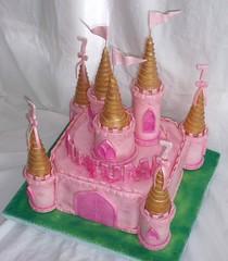 CastlePinkCakegoldTurretsForGirlView2 (tanyacakes) Tags: birthday pink castle cake edible turrets fondant gumpaste sugarcraft sugarpaste