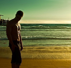 tall and tan and young and handsome. (red.dahlia) Tags: boy shirtless beach pier losangeles waves southerncalifornia santamonicabeach abs tomjobim hipbones vob tallandtanandyoungandhandsome theboyfromipanema thisversiondiannakrall