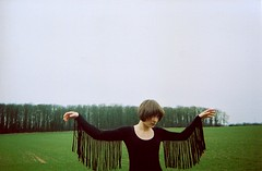 lady crow (Adele M. Reed) Tags: trees film field fashion 35mm hands shoot kodak gothic fringe libby stark disposable leotard adelemreedportfolio