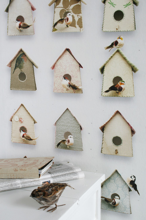 Buttons + Birdhouses For Your Walls