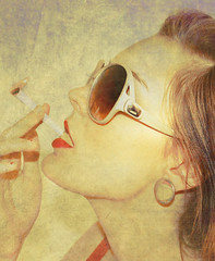 how to be glamorous. (karrah.kobus) Tags: red texture me sunglasses self cigarette smoking lipstick 365 disgust glamorous
