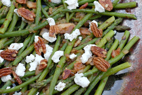 Asparagus with goat cheese & candied pecans by Eve Fox, Garden of Eating blog