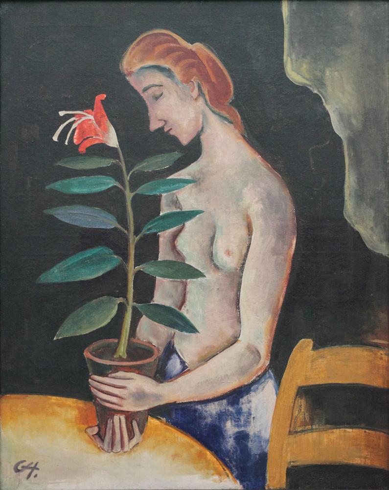Karl Hofer, Frau mit Blume [Woman with a flower], 1920