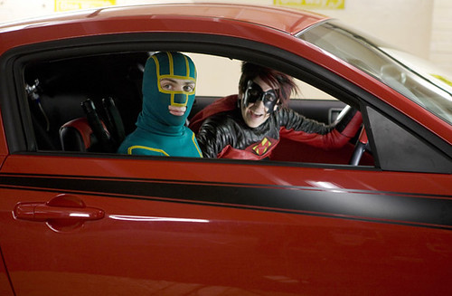 Aaron Johnson and Christopher Mintz-Plasse are Kick-Ass and Red Mist, respectively, in 'Kick-Ass'.