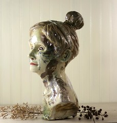 Finished Sculpture of Woman (mudstuffing) Tags: sculpture woman cup motif girl face lady ceramic design eyes stencil hand handmade made bust mug pottery decal etsy tumbler