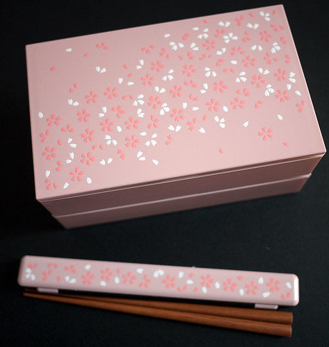 Sakura bento box and matching chopsticks case