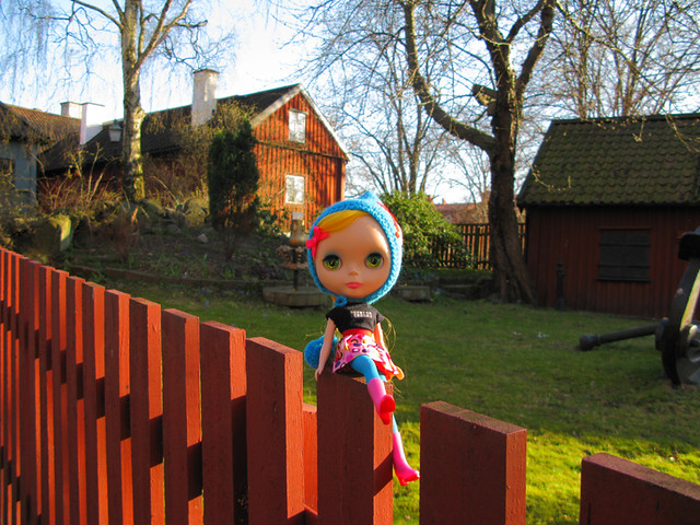 Sitting on fence.