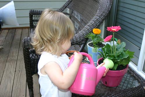 Watering her plants