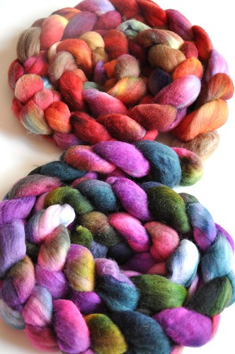 10oz-FatCatKnits- Mixed Blessing Fiber Club Spring-Summer 2010-Polwarth-reds & purples