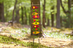 May Day Colour Totem (escher is still alive) Tags: trees red sculpture sun colour green grass leaves yellow circle leaf spring woods university may totem lancashire lancaster uni thorns mayday ephemeral landart naturalart 2010 enviro maypole enviroart andygoldsworthyhomage richardshilling