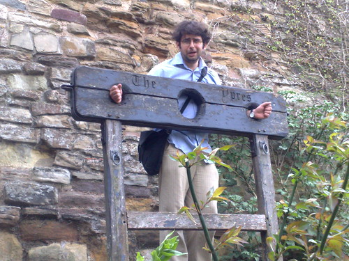 Nic in the stocks, Ypres Tower Rye