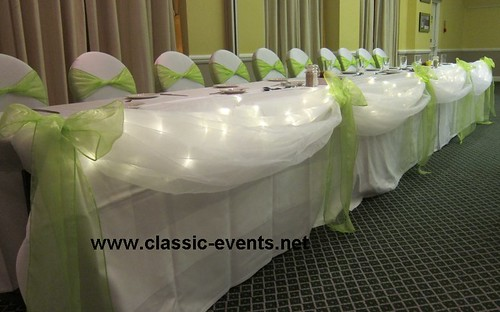 Wedding venue decoration top table swag with fairy lights apple wedding venue decoration top table swag with fairy lights apple green and white junglespirit Image collections