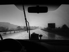(aMon Re) Tags: road white man black car rain loneliness slovenia distance
