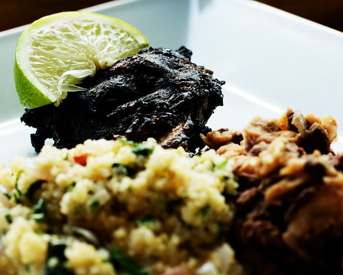 Charred jerk chicken, cilantro-lime quinoa, and beans