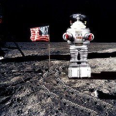 Lost in Space? (Kelvin64) Tags: moon colour art america lost robot artwork san paint artist colours image artistic space flag creative picture andreas flags nasa creation american americans moons create artworks b9