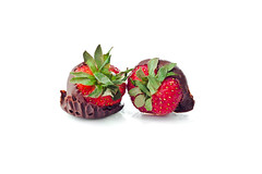 Two Chocolate Covered Strawberries (Billy Wilson Photography) Tags: food ontario canada leaves fruit digital canon dessert eos rebel 50mm strawberry candy chocolate istockphoto strawberries whitebackground acr xs f18 soo foodanddrink saultstemarie northernontario algoma stockphotography cs4 strobist sweetfood studioisolated billywilsonphotography