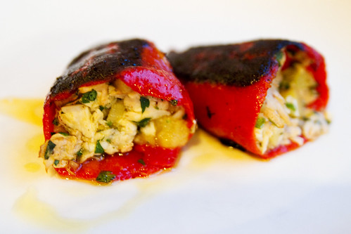 fresh flaked ahi, potato, and olive stuffed piquillo peppers