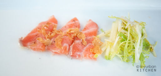 SALMON CRUDO frisee and apple salad, garlic chips, lemon oil $14