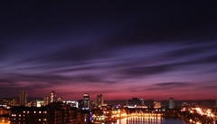 I recall your menacing eyes and the taste (geezaweezer) Tags: city uk pink sky wales lights high purple cymru cardiff young chemicals cardiffbay tigerbay atlanticwharf waterquarter geraintrowland