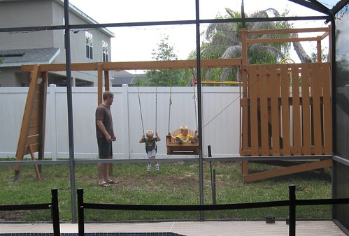 Playing on the New Swingset
