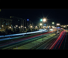 Stars on the road (Dr Cullen) Tags: madrid blanco azul luces rojo nikon edificio estrellas nocturna m30 largaexposicin longexposition 35mmf18 drcullen d300s nikond300s