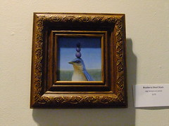 DSCF4778 (yellowsoupbowl) Tags: bird art artwork whimsy artist gallery panel ks egg surreal stack galleries blueberry final kansas surrealist friday wichita blueberries whimsical tempra