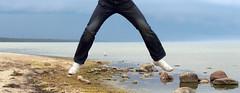 Le Jump (Helmuts Guigo) Tags: blue sea sky black green water grey jump