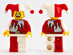 Lion Knights Jester (bluemoose) Tags: red white macro castle lego jester minifig minifigure kingdoms courtjester 100mmf28macro 7953 canoneos7d