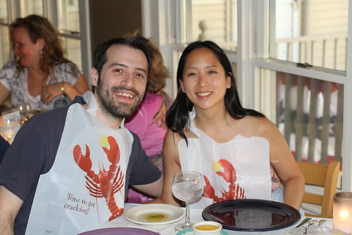 Lon and Jessica with Lobster Bibs