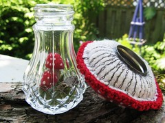 Cap off... (woolly  fabulous) Tags: red wool mushroom recycled saltshaker felt tiny embroidered terrarium ecofriendly