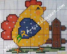Gráfico de Ponto Cruz -galinha-05