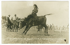 Mildred Douglas Riding Wild Steer (SMU Central University Libraries) Tags: horses women cattle rodeo cowgirls uswest rppc throwbackthursday wildlifewednesday mildreddouglaschrisman18951983