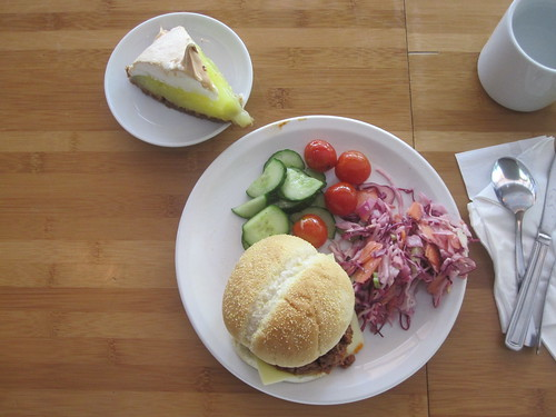 Sloppy joe, coleslaw, cucumber and tomato salad, lemon meringue pie from the bistro - $6