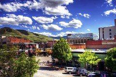 Downtown Missoula (SheldonPhotography) Tags: pictures summer skyline architecture canon buildings river landscape montana downtown mt photos missoula hdr highdynamicrange thegalaxy rebelxti sheldonphotography