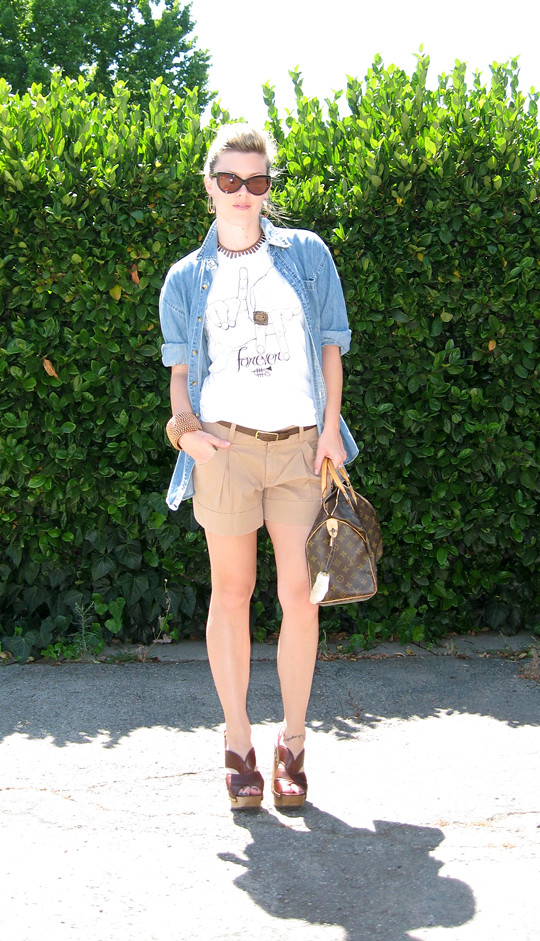 LA Forever T-shirt+Shorts+Denim Shirt+Miu Miu clog sandals+LV