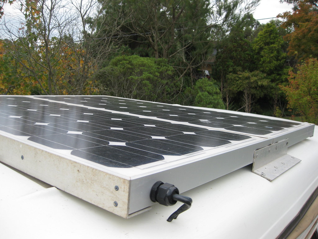 Solar Panels atop our 75 Series Toyota Landcruiser for sale