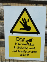 London Zoo - Animal Adventure - Donkeys - Danger sign