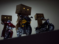 068/365:  Night Riders. (Randy Santa-Ana) Tags: night toys dawn ride motorcycle danbo gf1 project365 danboard minidanboard minidanbo 365daysofdanbo
