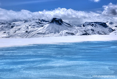 blue water over blue ice