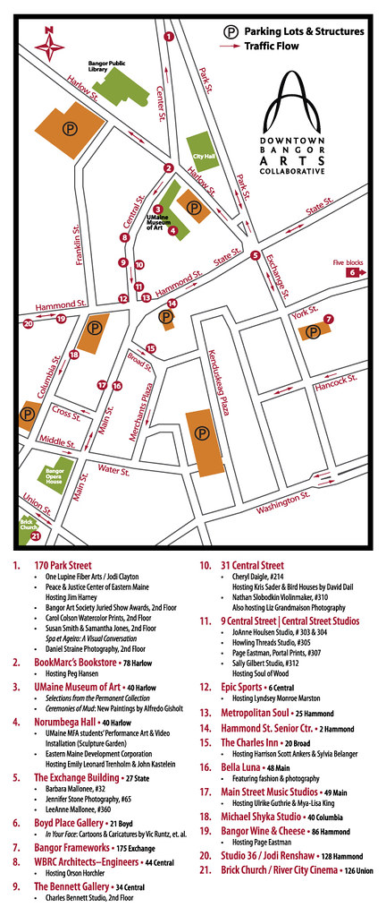 18th Downtown Bangor ArtWalk Map.